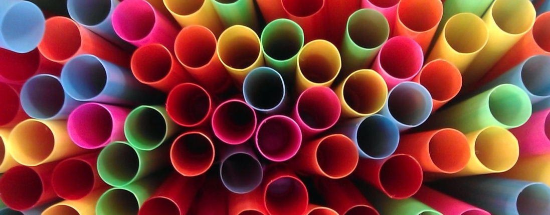 cluster of plastic straws