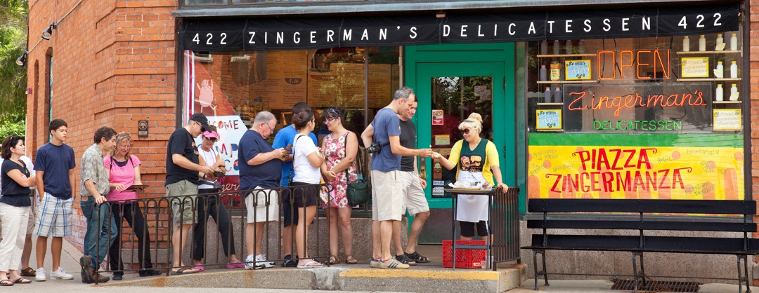 A line of customers waits in line at Zingerman's Delicatessen in Ann Arbor, Michigan. (release no. R17059, location) Photo by Kevin J. Miyazaki/Redux