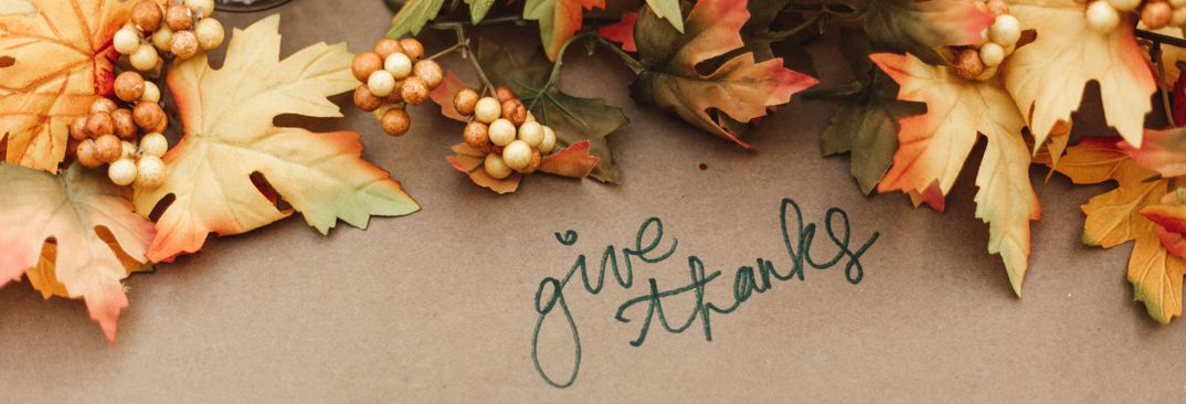 Give thanks - maple leaves and thanksgiving accents