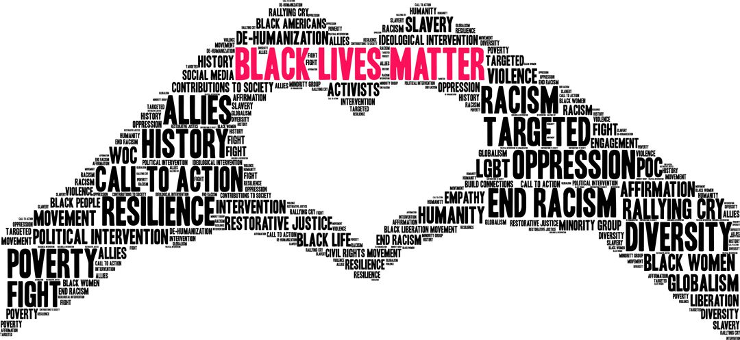 Black Lives Matter graphic made from words of 2 hands coming together to form a heart shape