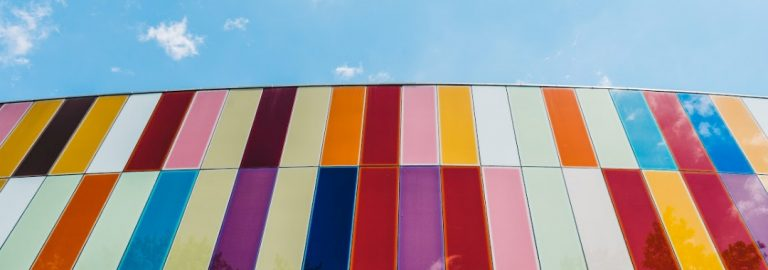 colorful bars against blue sky