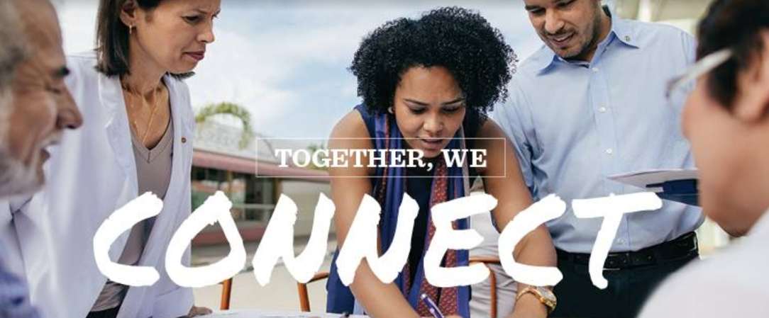 """""""Together, we connect"""" and people working together"""