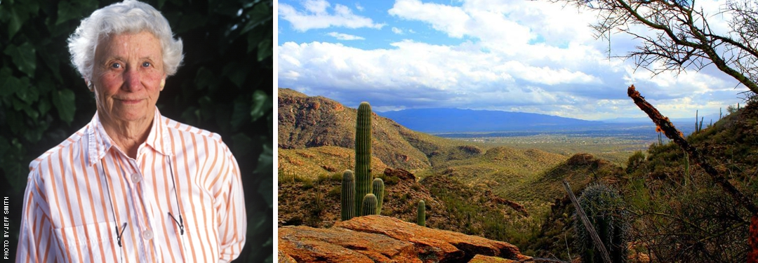 Photo of Agnese Haury by Jeff Smitth and photo of desert scene by Nicci Radhe