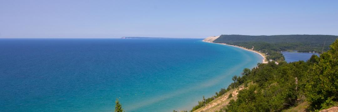view of Lake Michigan, South Manitou Island, and the back side of Sleeping Bear Sand Dunes