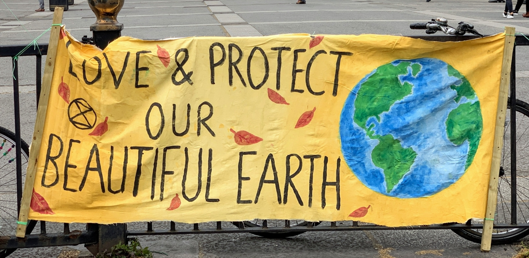 "banner hanging on fence that says ""preserve and protect our beautiful earth"""