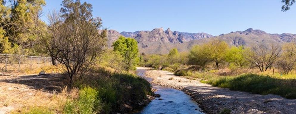 view of mountains around Tucson, Arizona with creek running through
