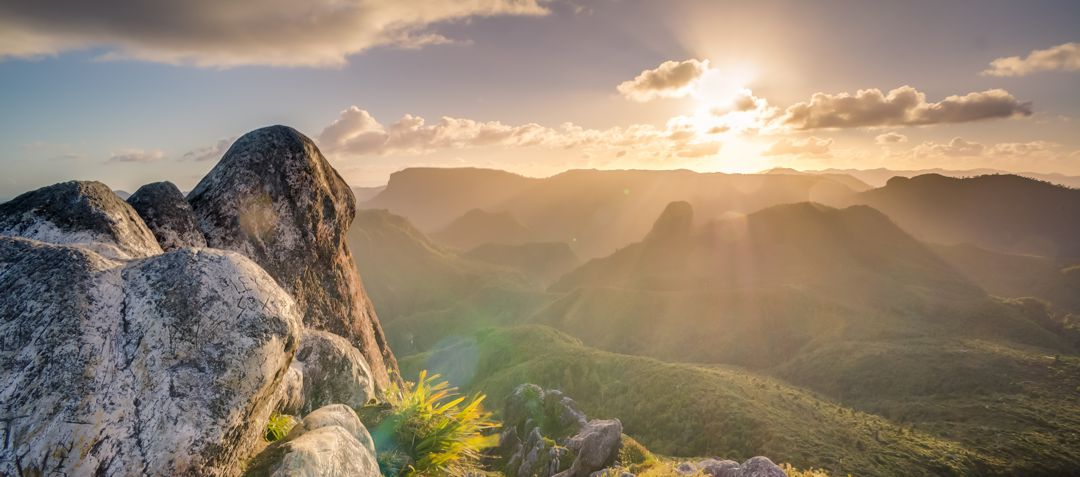 sunrise over mountains and rock
