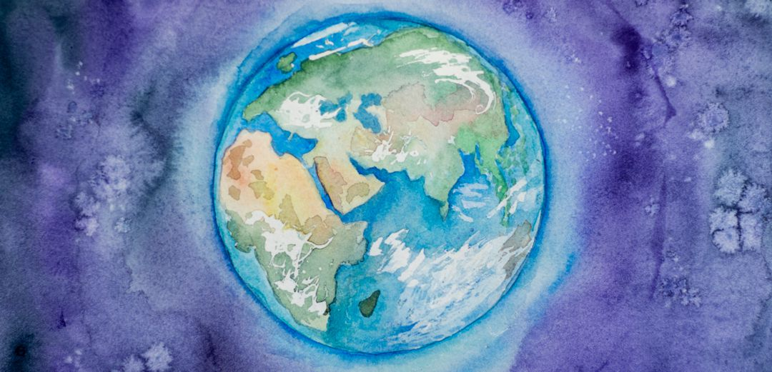 Water color painting of earth