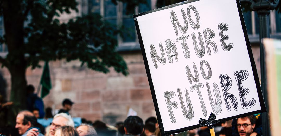 """group of people and a sign that says """"no nature no future"""""""