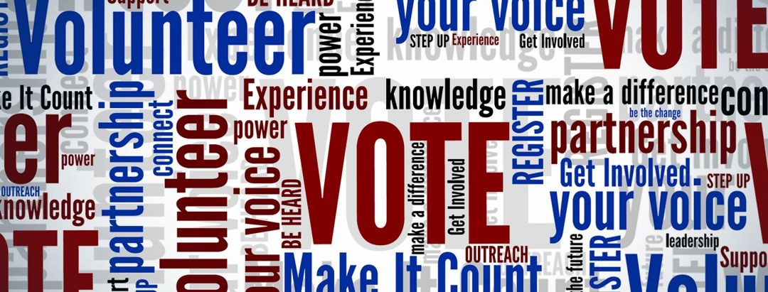 all text with words about voting, volunteering, voice