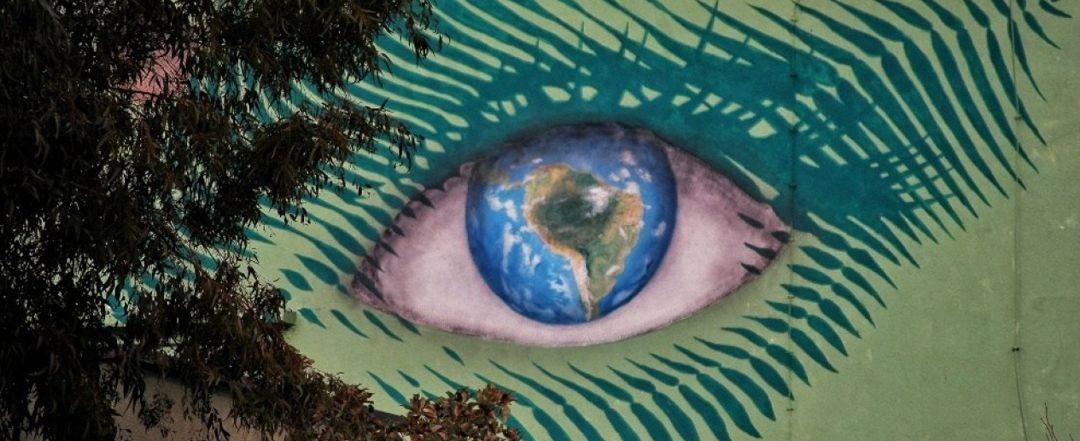 graphic mural art of eyeball
