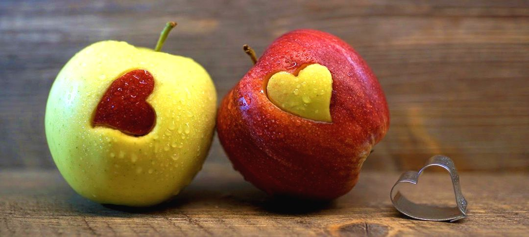 2 apples with heart shaped cookie cutter