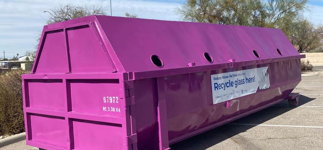 purple glass recycling container