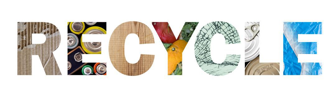 the word recycle with letters made from recycled material