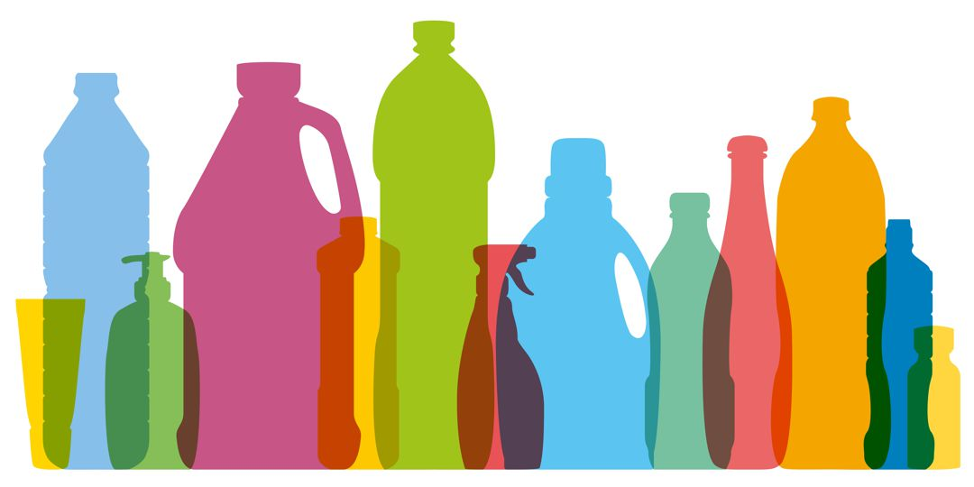 graphic of plastic cleaning bottles