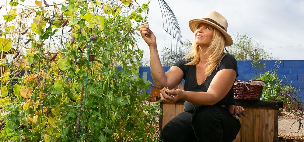 Nicci Radhe in her garden