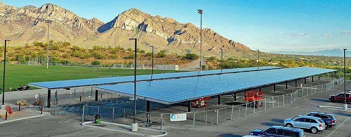 sheltered solar parking at Naranja Park, Oro Valley, Arizona - photo credit TEP