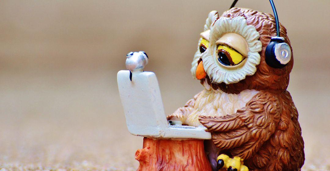 ceramic owl sitting at laptop wearing headset